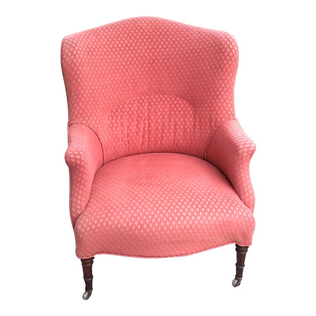 English Red Wingback Chair For Sale