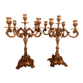 Portuguese Rococo Revival Silver Five Light Candelabras - a Pair