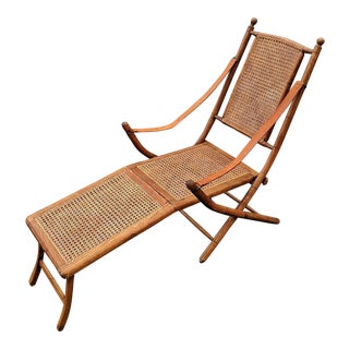 Antique English Caned & Bamboo Carved Oak Folding Deck Lounge Chair For Sale