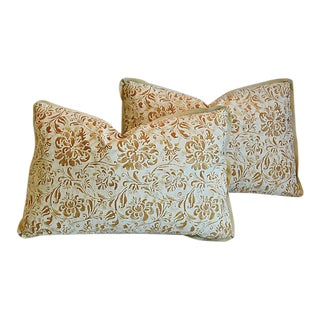 "Custom Tailored Italian Fortuny Cimarosa Feather/Down Pillows 22"" X 15"" - Pair"