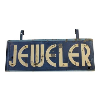 Mid 20th C. Vintage Art Deco Double Sided Jeweler Sign For Sale