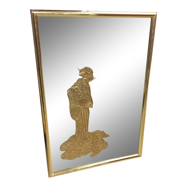 1970s Vintage Chinoiserie Style Eglomise Woman Vertical Mirror With Metal Frame For Sale