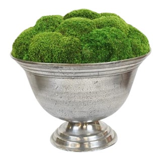 Pewter Pedestal Bowl With Preserved Moss