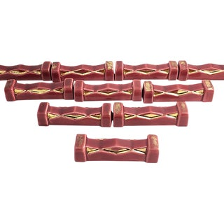 Art Deco Burgundy & Gold Knife Rests - Set of 10 For Sale