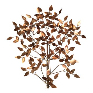 Signed Curtis Jere Copper Tree Wall Sculpture For Sale