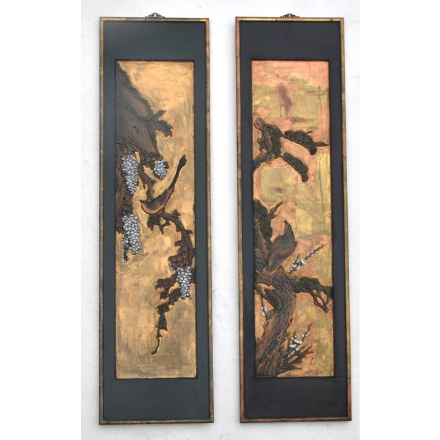 Brass Chinese Lacquered Carved Wood Panel Pair For Sale - Image 7 of 7