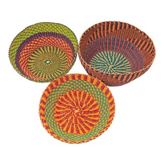 Handmade Ghana Baskets - Set of 3 For Sale