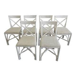 Florida Style Painted Rattan Side Chairs - Set of 6 For Sale