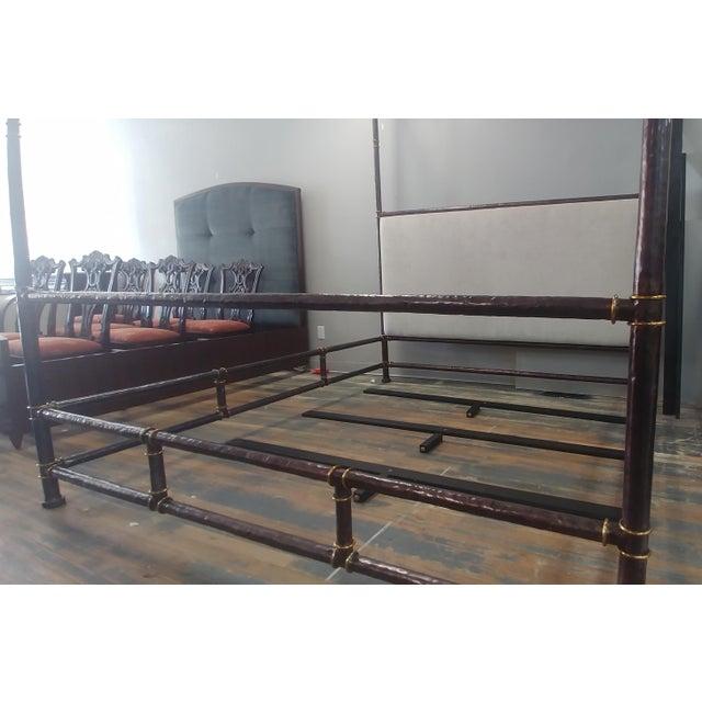 2010s Henredon Furniture Jeffrey Bilhuber Hammered Metal Bank St Queen Canopy Bed For Sale - Image 5 of 12
