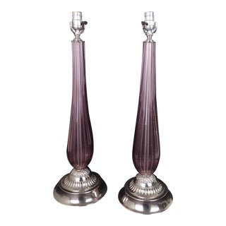 1960s Venetian Glass Lamps in Manner of Seguso - a Pair For Sale