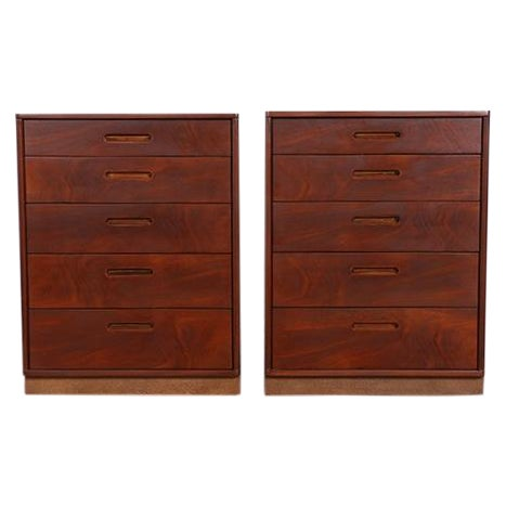 Mid Century Walnut Chests for Dunbar - Pair - Image 1 of 6