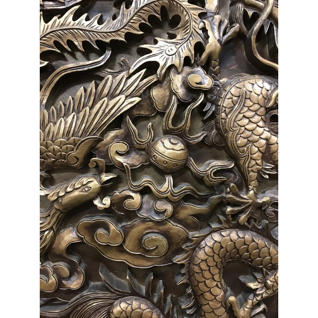 Vintage Monumental Asian Wall Medallion Wall Plaque Dragon and Phoenix Resin Fiberglass For Sale - Image 4 of 8