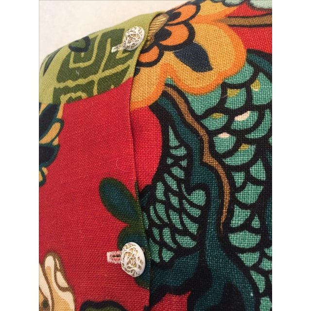 Schumacher Chiang Mai Dragon in Red Pillows - Pair - Image 11 of 11