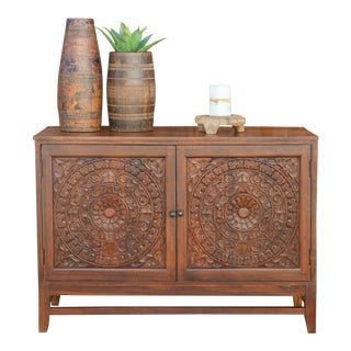 Mandala Lotus Carved Cabinet For Sale