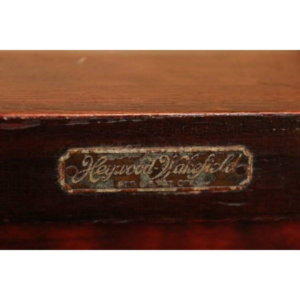 Brown Early 1900's Lawyers Bench by Heywood-Wakefield For Sale - Image 8 of 8