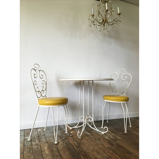 Vintage Wrought Iron Bistro Dining Set For Sale - Image 4 of 7
