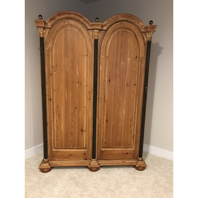 French 1970s Modern Double Bonnet Washed Pine Armoire For Sale - Image 3 of 3