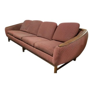Mid Century Modern Danish R. Huber Curved Back Teak Sofa for Upholstery For Sale