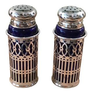 Cobalt Blue Glass and Silver Salt & Pepper Shaker Set For Sale