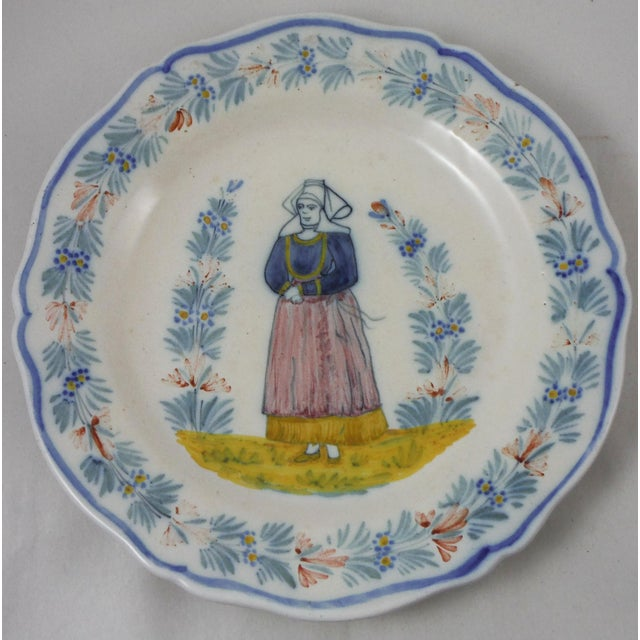 French Country Antique French Quimper Plate Signed Hr Quimper For Sale - Image 3 of 3