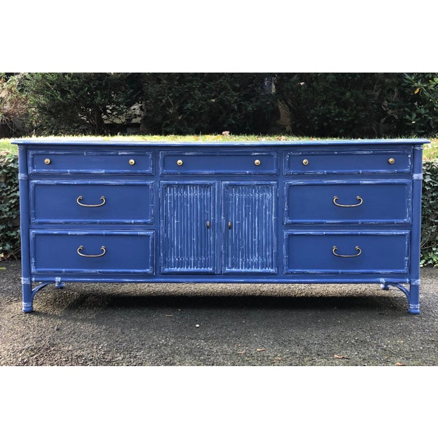 1970's Vintage Drexel Heritage Malay Faux Bamboo Dresser For Sale - Image 10 of 10