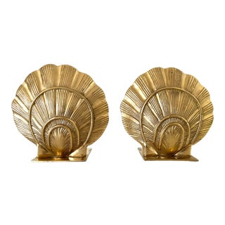 Vintage Mid-Century Coastal Style Brass Scallop Seashell Bookends - a Pair For Sale