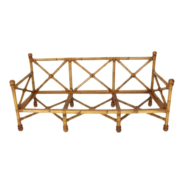 Heavy Gage Thick Bamboo and Leather X-Base Sofa Frame For Sale