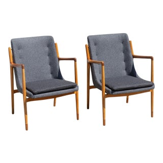 Vintage Mid Century Finn Juhl Style Danish Modern Teak and Beech Armchairs- A Pair For Sale