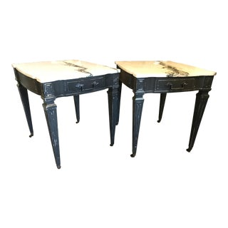 Weiman White & Black Marble Top Vintage Side Tables -- A Pair
