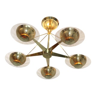1950's Gerald Thurston for Lightolier Brass and Glass Chandelier For Sale