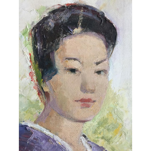 1950's Oil Painting Japanese Woman With Fan For Sale - Image 5 of 9