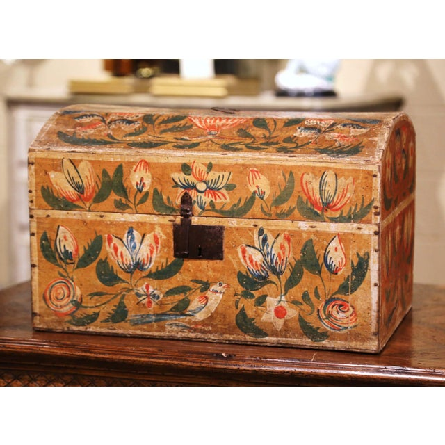 18th Century French Normand Painted Wedding Box With Bird and Floral Motifs For Sale - Image 12 of 12