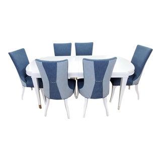 Lexington Furniture Avondale Vernon Hills White Dining Table & Chair Set For Sale