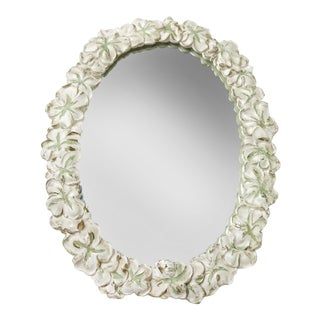 Vintage Mid-Century French Oval Mirror With Hand Crafted Floral Frame For Sale
