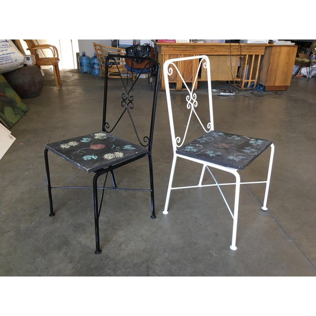 Mid-Century Modern Scrolling Iron Patio/Outdoor Lounge Chair W/ Pad Seat - Set of 4 For Sale - Image 3 of 11