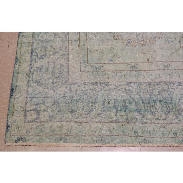 """1940s 1940s Boho Chic Persian Kerman Blue Wool Rug - 9'7""""x12'9"""" For Sale - Image 5 of 7"""