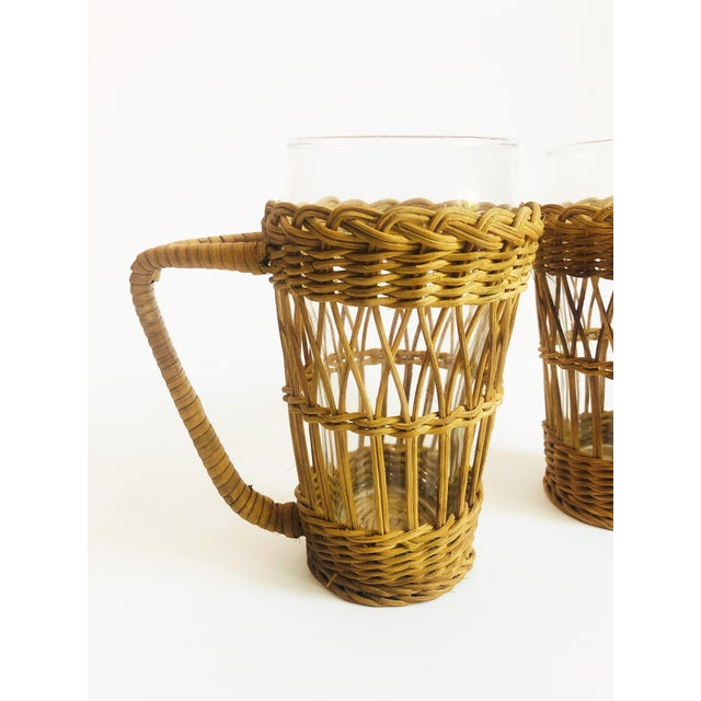 Boho Chic Vintage Tall Glasses in Wicker Holders - Set of 2 For Sale - Image 3 of 6