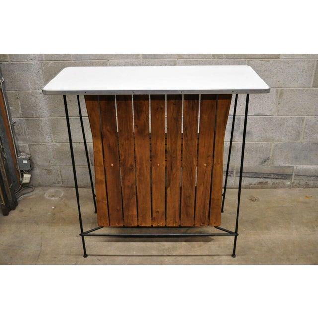 Arthur Umanoff Mid Century Modern Arthur Umanoff Wrought Iron and Rattan Bar and Bar Stools- 3 Pieces For Sale - Image 4 of 13