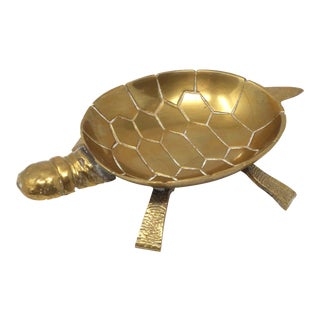 Vintage Brass Turtle Ashtray or Trinket Dish For Sale