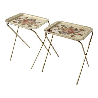 Mid-Century Floral Folding Tray Tables