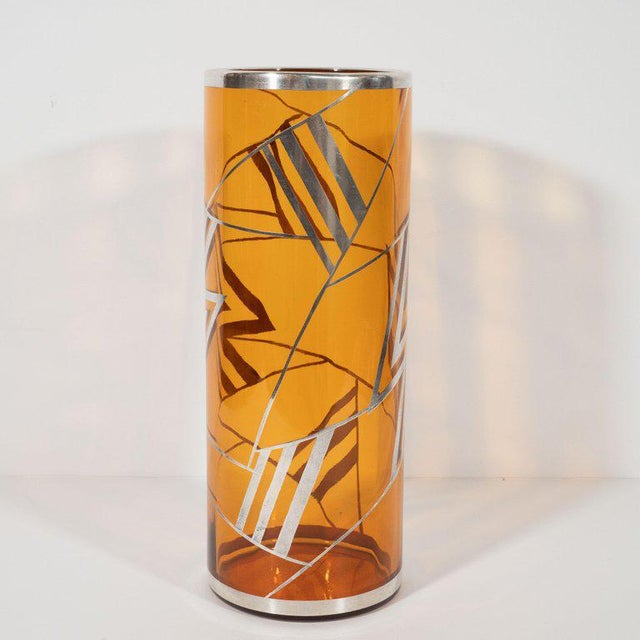 Art Deco Brown Topaz Glass Vase With Geometric Cubist Sterling Silver Overlays For Sale - Image 4 of 6