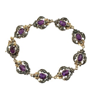 Edwardian Silver on Gold Amethyst Diamond Link Bracelet For Sale