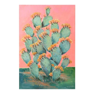 PINK CACTUS II Signed Original Painting For Sale