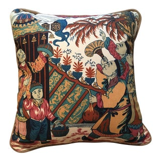 "Designer ""Chinese Astronauts"" Accent Pillow With Cording"