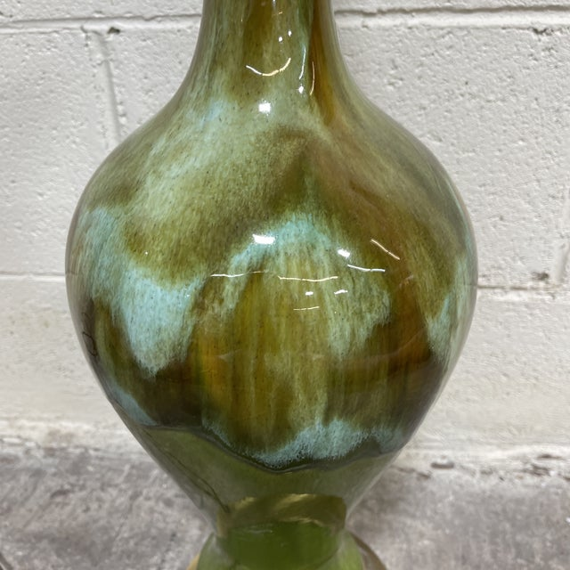 Mid Century Green Drip Glaze Lamp For Sale - Image 4 of 10