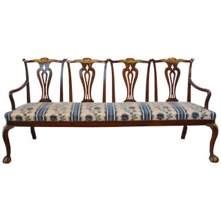 Chippendale Style Mahogany Four-Seat Back Settee For Sale