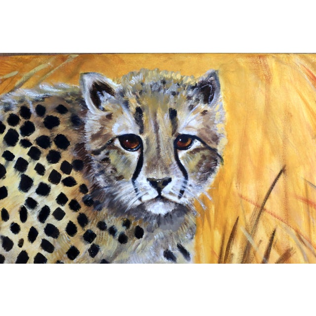 """36"""" Original Cheetah Oil Painting by Gilian Levy For Sale - Image 4 of 8"""