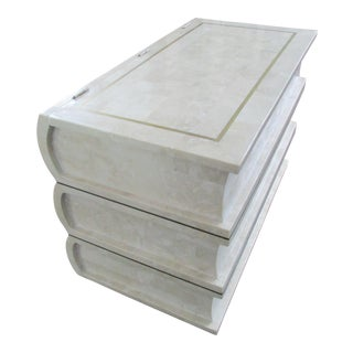 Tessellated Stone Chest -Artfully Designed Stack of Books For Sale