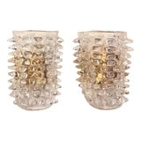 Image of Set of Two Huge Rostrato Murano Glass Wall Sconces in the Manner of Barovier For Sale
