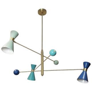 "Blue and Gold Italian Modern ""Campana"" Three-Arm Pendant in Brass & Enamel Blueprint Lighting For Sale"